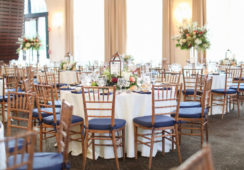 Indoor wedding reception room setup