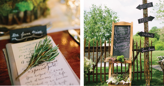 rustic decor place setting and chalk board at barn wedding