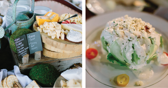 rustic wedding cheese board and salad
