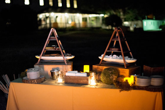 Creative Wood S'more Tower Wedding