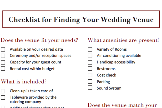 Wedding Reception Checklist | Wedding Venue Checklist Philadelphia Catering Companies