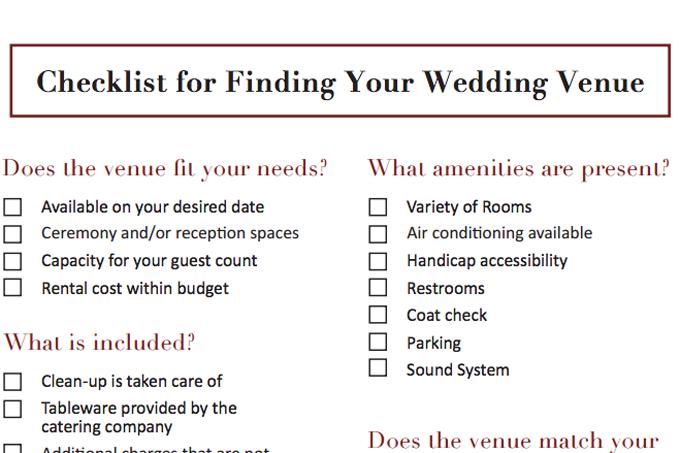 Wedding Venue Checklist Philadelphia Catering Companies