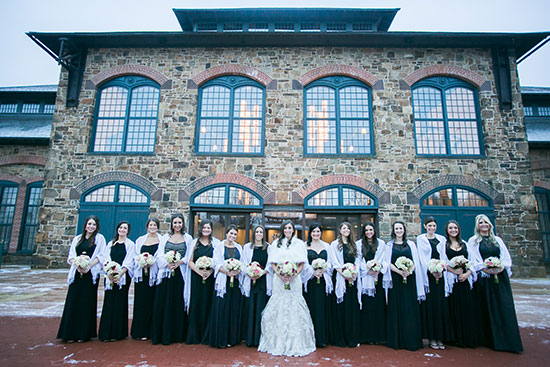 Bridal Party Outside of the Phoenixville Foundry Winter Wedding
