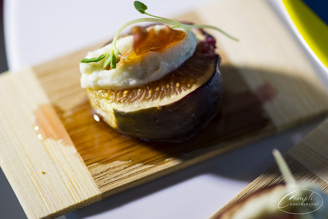 Fall-Fig with Whipped Goat Cheese, Pancetta and Drizzled Honey