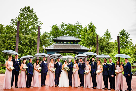 Bridal Party in Rain at Phoenixville Foundry