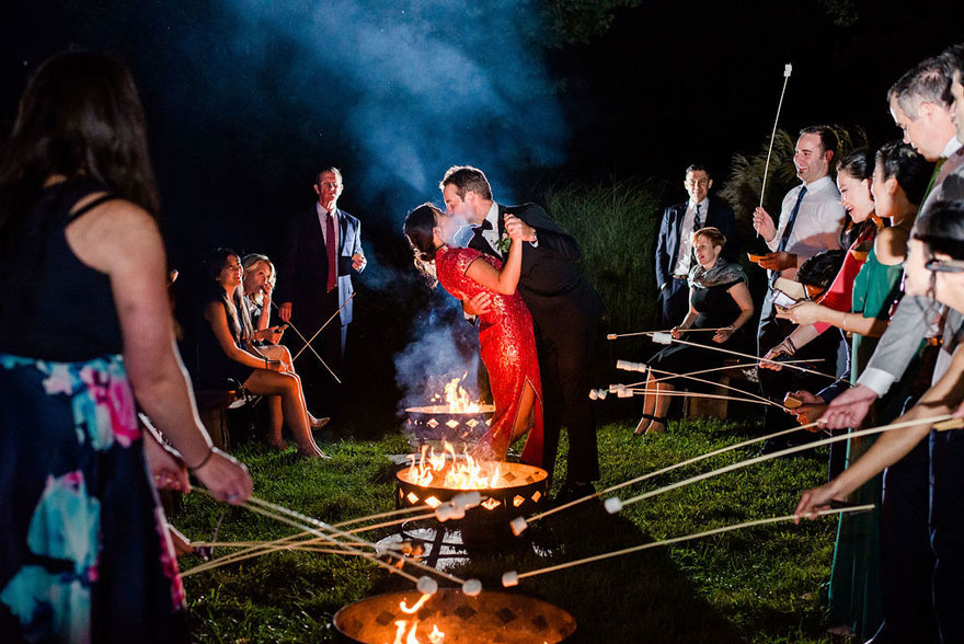Smore's Fire Pit at Springton Manor Farm Wedding