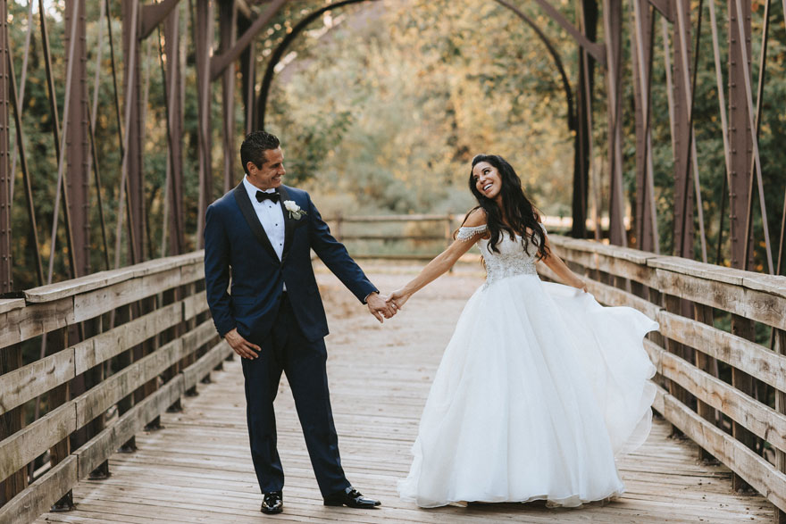 Phoenixville Foundry Bride and Groom on Bridge