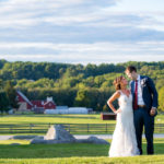 Bride and groom on the ground of springton manor farm
