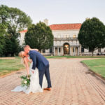 Bride and groom kissing outside The Patio at Archmere Academy