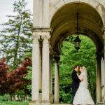 Bride and the groom outside The Patio at Archmere Academy