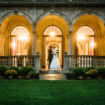 Bride and groom outside The Patio at Archmere Academy