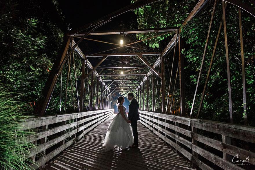 Bride and Groom on Bridge Near Phoenixville Foundry