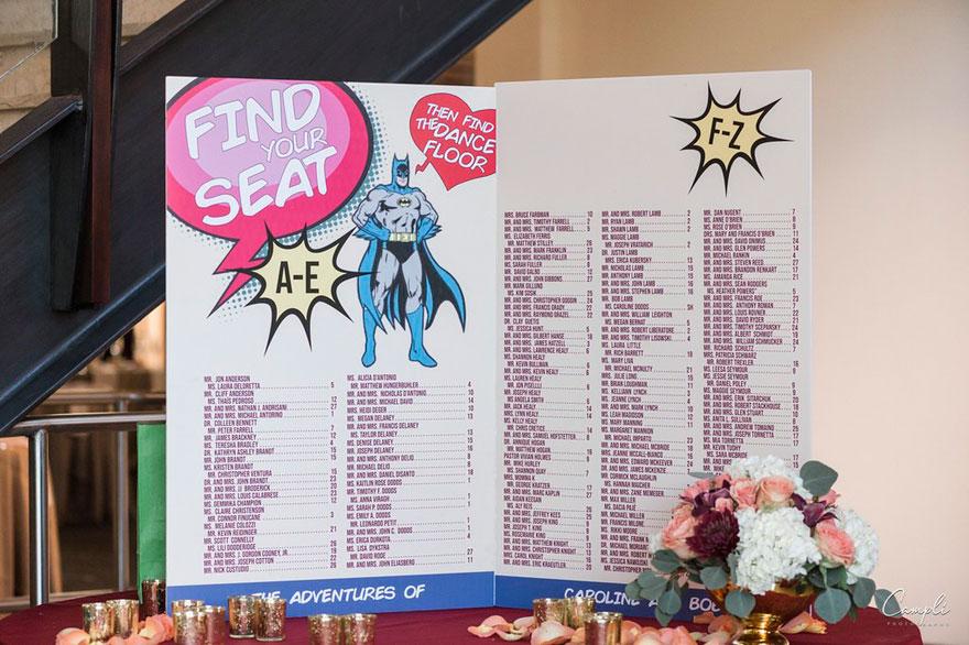 Superhero Seating Chart at Wedding