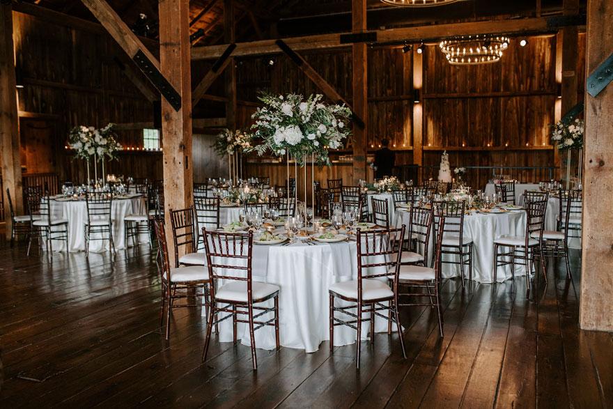Wedding Reception Table Setup at The Farm of Eagles Ridge