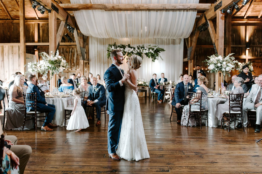 Bride and Groom at The Farm First Dance at Eagles Ridge