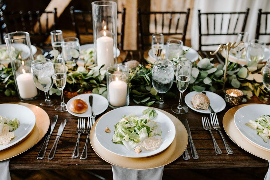 Plated Salad at Wedding Reception